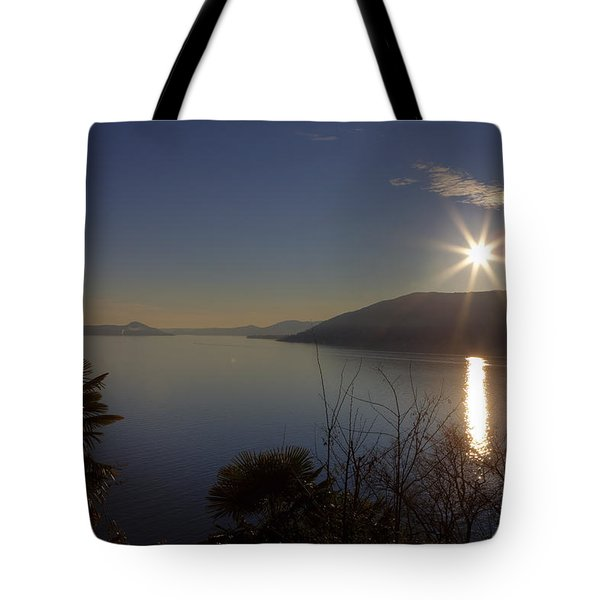 evening sun over the Lake Maggiore Tote Bag by Joana Kruse
