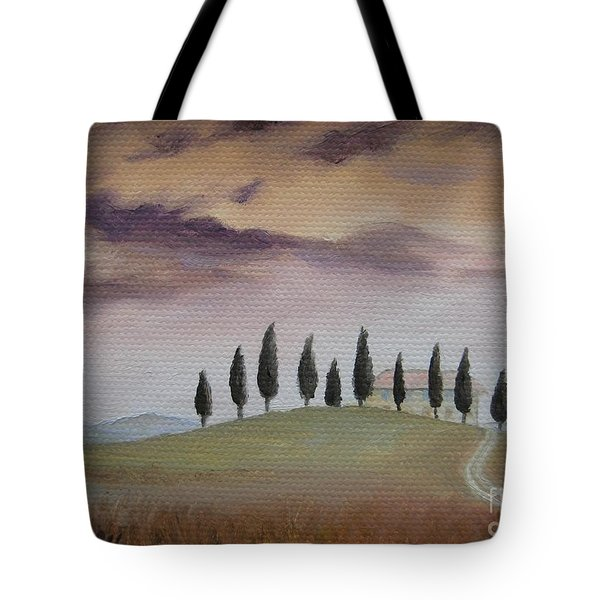 Tote Bag featuring the painting Evening Tuscany by Jindra Noewi