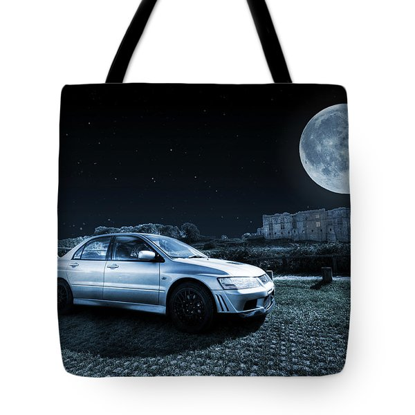 Tote Bag featuring the photograph Evo 7 At Night by Steve Purnell