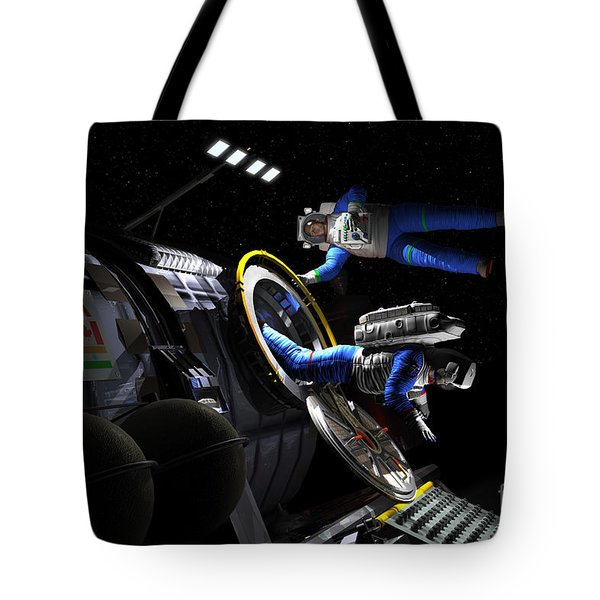 Explorers In Space Suits Exit An Tote Bag by Walter Myers