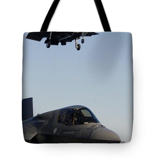 F-35b Lighnting II Variants Land Aboard Tote Bag by Stocktrek Images