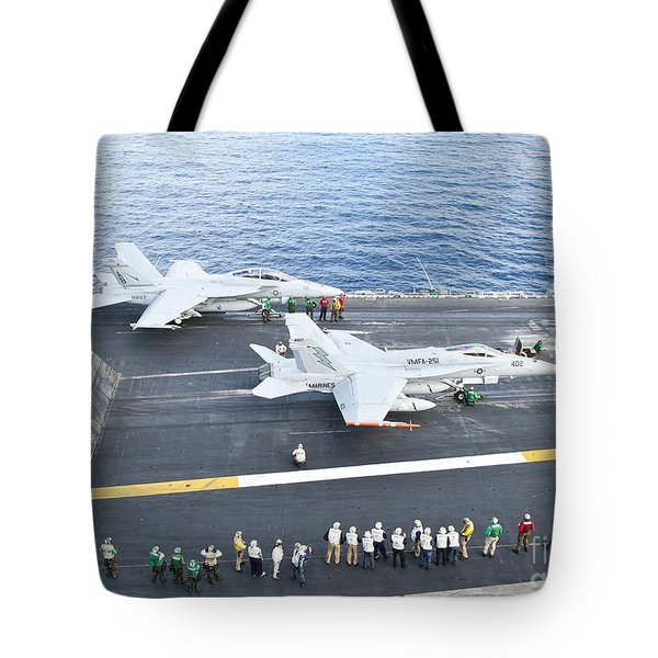 Fa-18 Aircraft Prepare To Take Tote Bag by Stocktrek Images