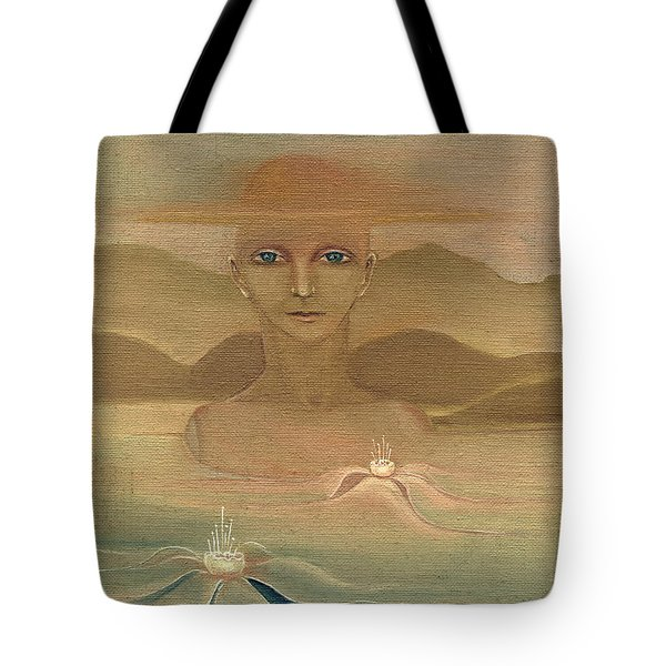 Face From Nature Desert Landscape Abstract Fantasy With Flowers Blue Eyes Yellow Cloud  In Sky  Tote Bag by Rachel Hershkovitz