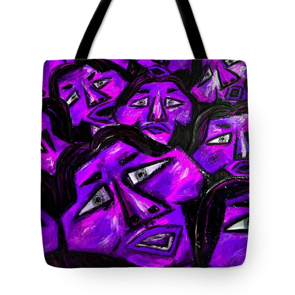 Faces - Purple Tote Bag by Karen Elzinga