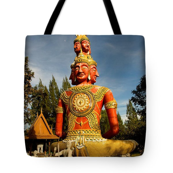 Faces Of Buddha Tote Bag by Adrian Evans