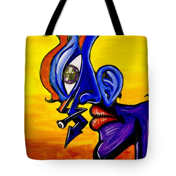 Tote Bag featuring the mixed media Facial Deconstruction by eVol  i