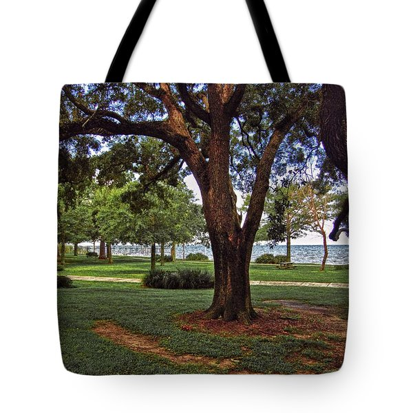 Fairhope Lower Park 2 Trees Tote Bag by Michael Thomas