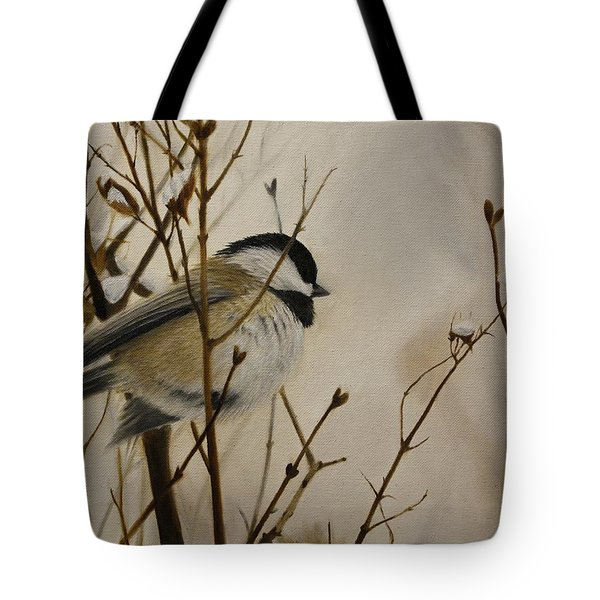 Tote Bag featuring the painting Faithful Winter Friend by Tammy Taylor