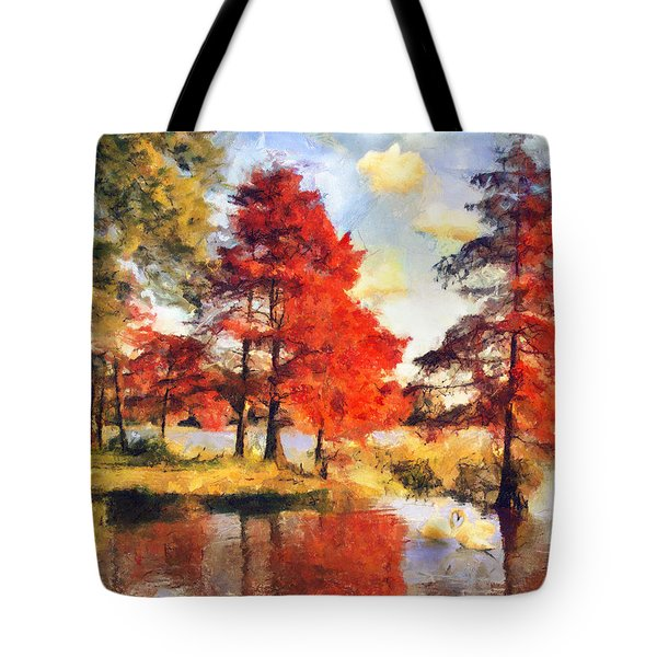 Fall At Swan Lake Tote Bag by Jai Johnson
