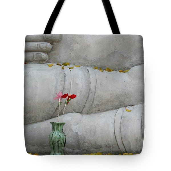 Tote Bag featuring the photograph Fall Buddha #1 by Nola Lee Kelsey
