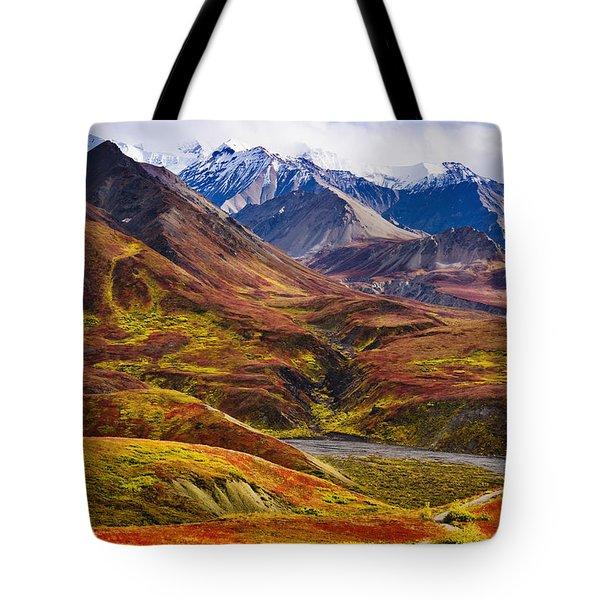 Fall Colours And Alaska Range, Denali Tote Bag by Yves Marcoux