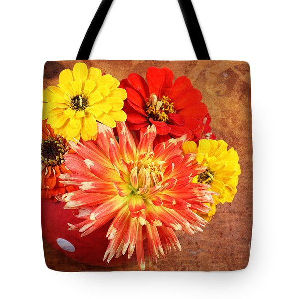 Tote Bag featuring the photograph Fall Flower Arrangement by Verena Matthew