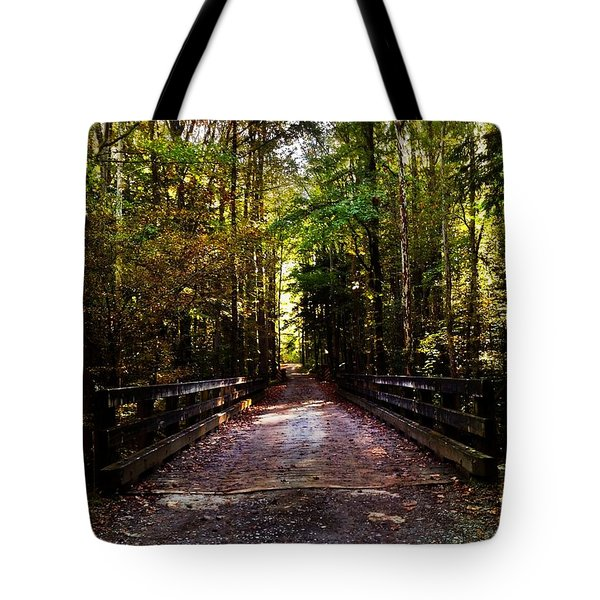Fall Hiking Trail Tote Bag by Janice Spivey