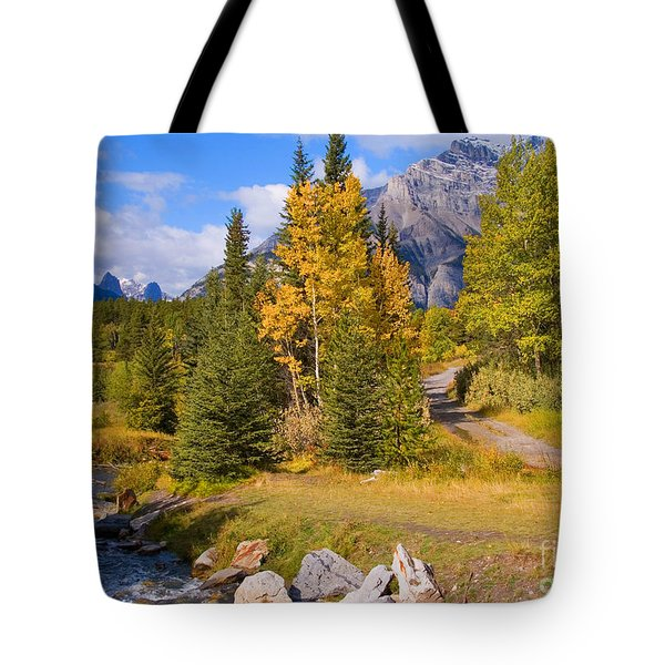 Fall In Banff National Park Tote Bag by Bob and Nancy Kendrick