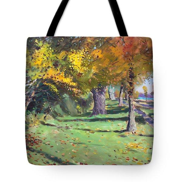 Fall In Goat Island Tote Bag by Ylli Haruni