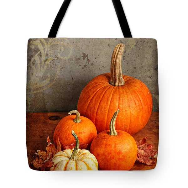 Tote Bag featuring the photograph Fall Pumpkin And Decorative Squash by Verena Matthew