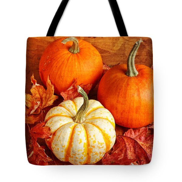 Tote Bag featuring the photograph Fall Pumpkins And Decorative Squash by Verena Matthew