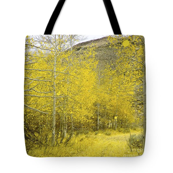 Falling Aspen Leaves Tote Bag