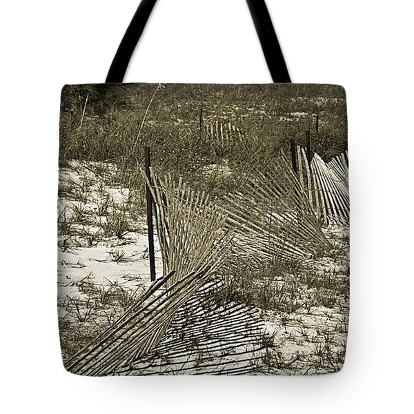 Falling Dune Fence Tote Bag