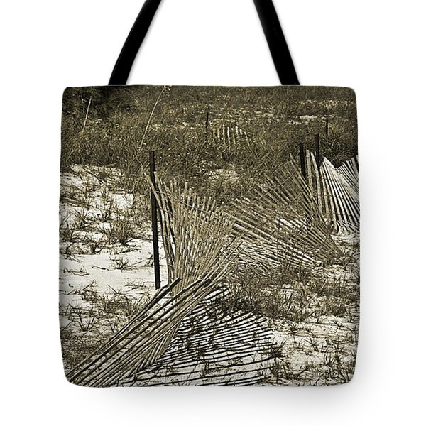 Tote Bag featuring the photograph Falling Dune Fence by Susan Leggett