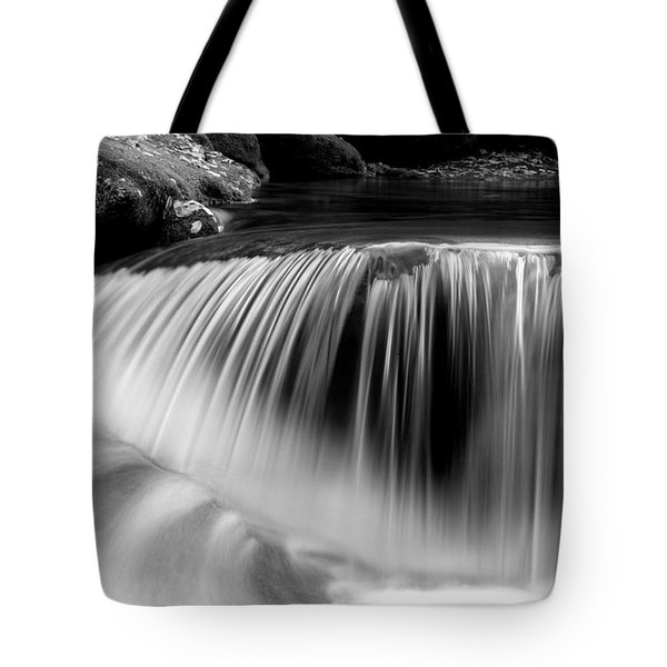 Falling Water Black And White Tote Bag by Rich Franco
