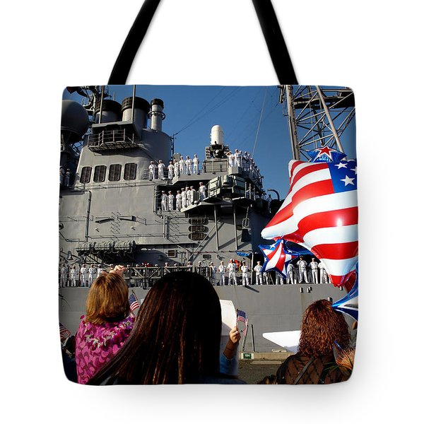 Family Members Wait On The Pier Tote Bag