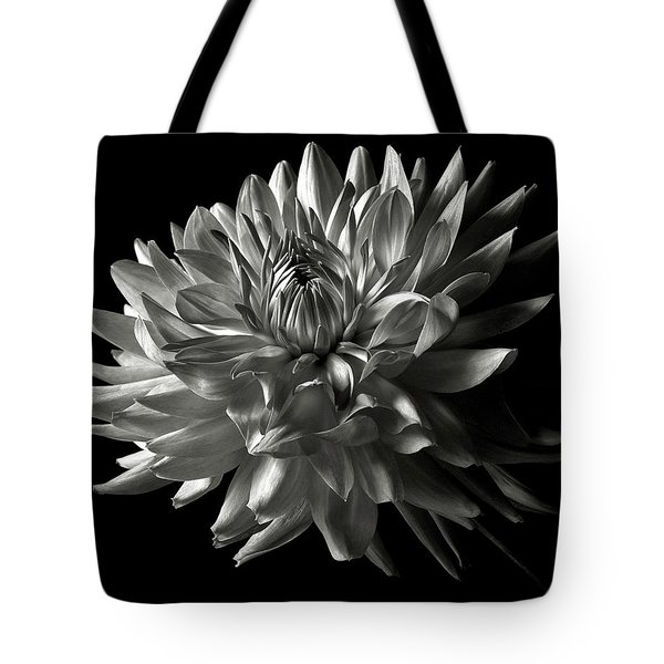 Fancy Dahlia In Black And White Tote Bag
