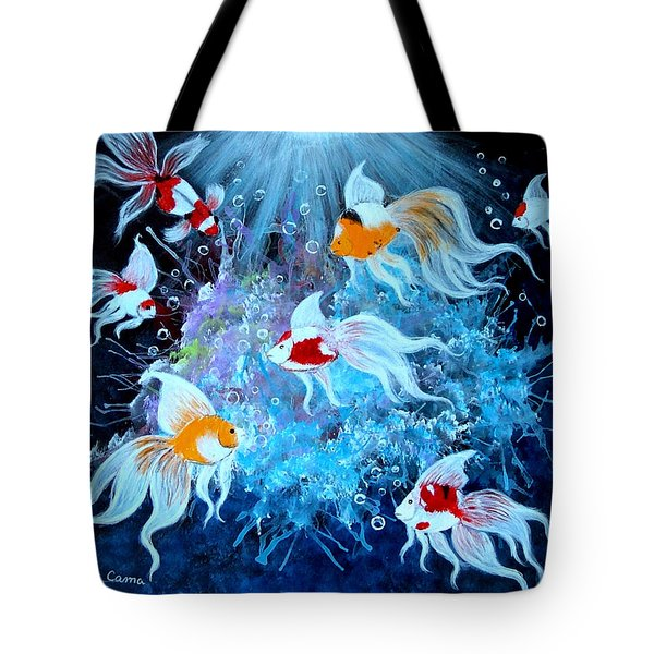 Tote Bag featuring the painting Fantailia by Fram Cama