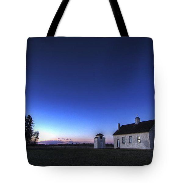Farm House In Field At Sunset, Fort Tote Bag by Dan Jurak