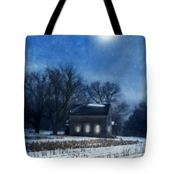 Farmhouse Under Full Moon In Winter Tote Bag by Jill Battaglia