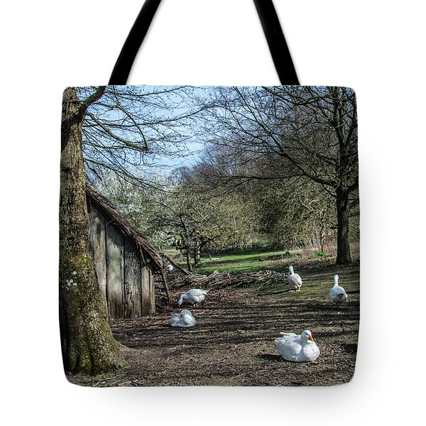 Farmyard Geese Tote Bag by Dawn OConnor