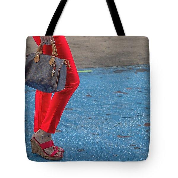 Fashionably Red Tote Bag by Karol Livote