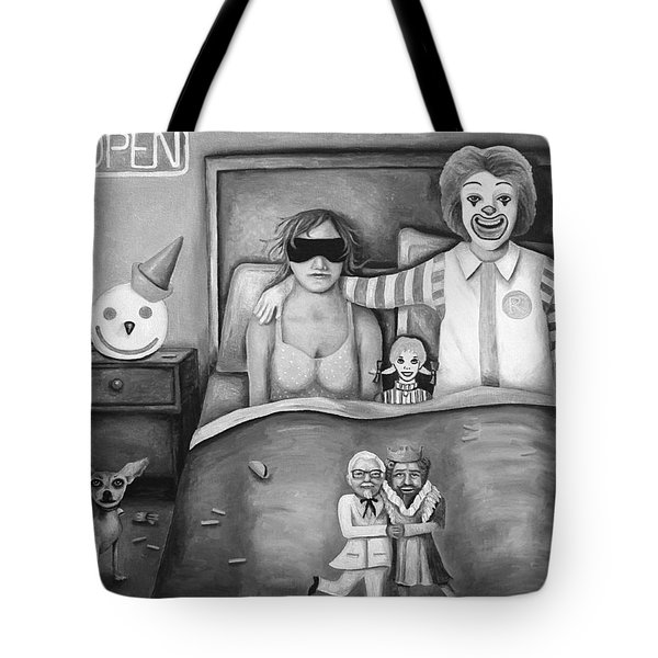 Fast Food Nightmare Bw Tote Bag by Leah Saulnier The Painting Maniac