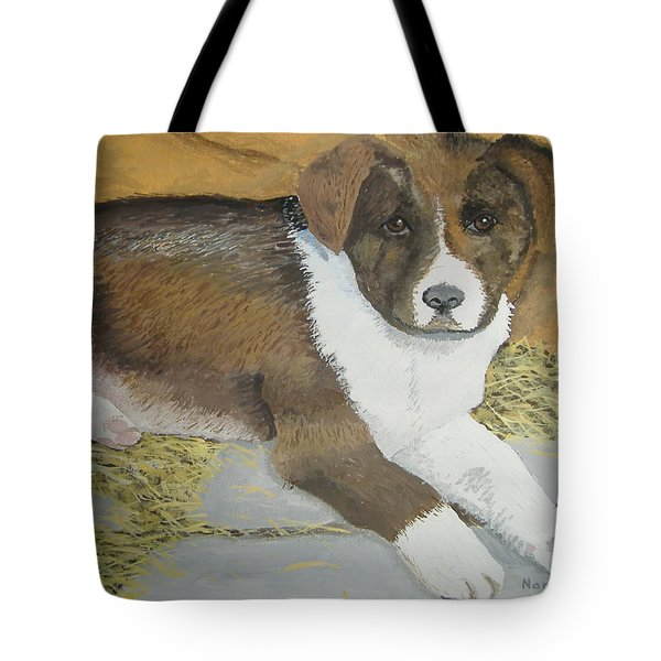 Tote Bag featuring the painting Fat Puppy by Norm Starks