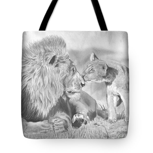 Father And Cub Tote Bag