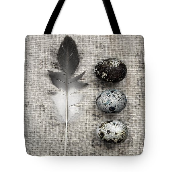 Feather And Three Eggs Tote Bag