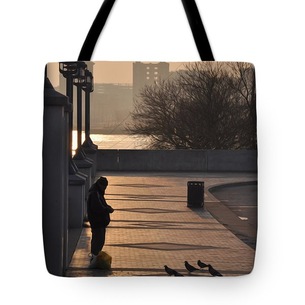 Feeding The Pigeons At Dawn Tote Bag by Bill Cannon