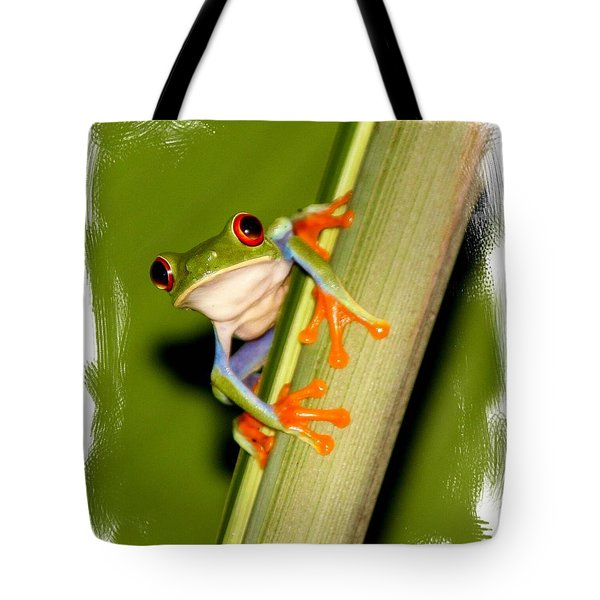Tote Bag featuring the photograph Feeling Froggy by Myrna Bradshaw