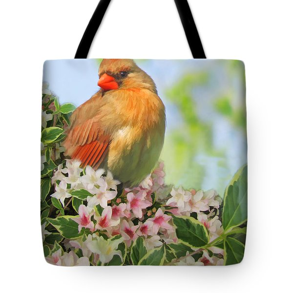 Tote Bag featuring the photograph Female Cardnial In Wegia Digital Art by Debbie Portwood