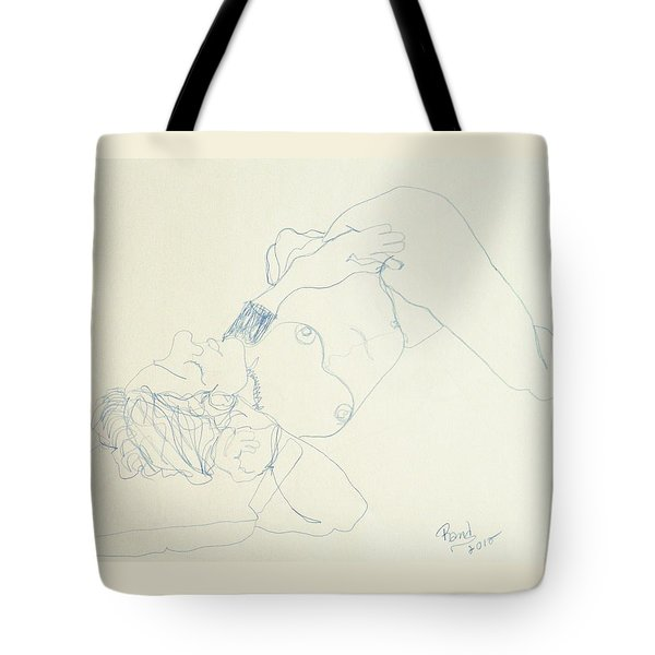 Female Nude In Blue Tote Bag by Rand Swift