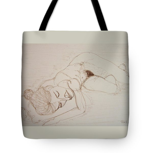 Female Nude Lying Tote Bag by Rand Swift
