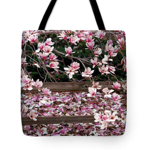 Tote Bag featuring the photograph Fence Of Flowers by Elizabeth Winter