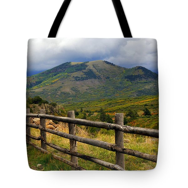 Fence Row And Mountains Tote Bag by Marty Koch