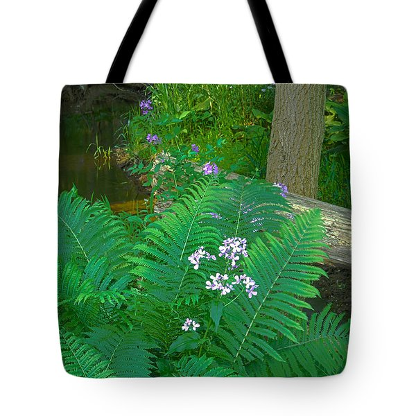 Ferns And Phlox Tote Bag by Michael Peychich
