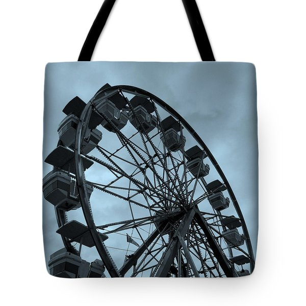 Tote Bag featuring the photograph Ferris Wheel Blue Sky by Ramona Johnston