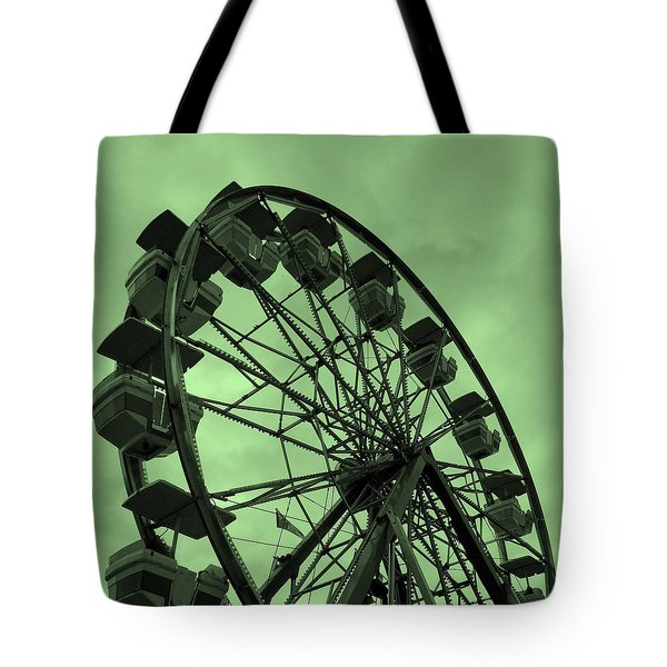 Tote Bag featuring the photograph Ferris Wheel Green Sky by Ramona Johnston