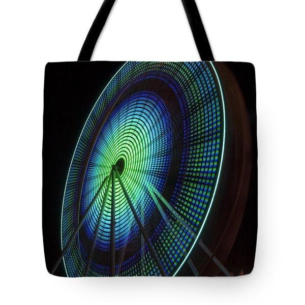 Ferris Wheel Lit Shades Of Green And Blue Tote Bag
