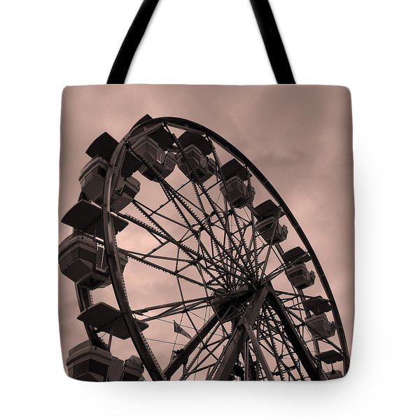 Tote Bag featuring the photograph Ferris Wheel Pink Sky by Ramona Johnston