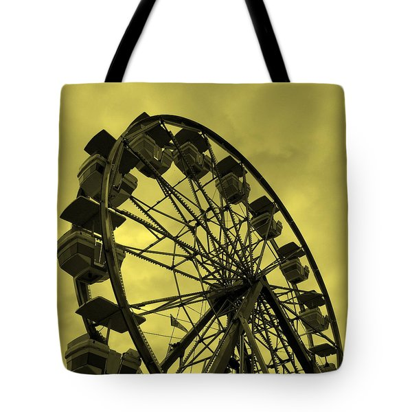 Tote Bag featuring the photograph Ferris Wheel Yellow Sky by Ramona Johnston