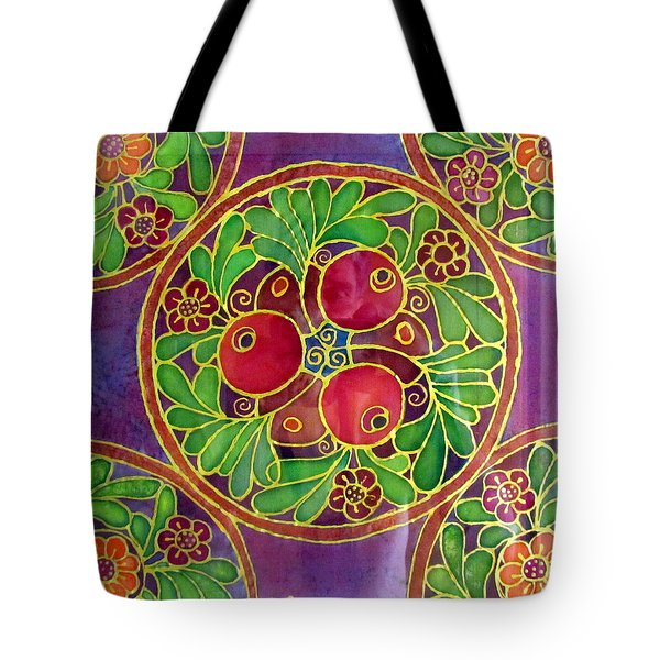 Festive Pomegranates In Gold And Vivid Colors Wall Decor In Red Green Purple Branch Leaves Flowers Tote Bag by Rachel Hershkovitz